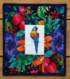 Quilted Parrot Cross Stitch Wall Hanging Gift by MoranArtandQuilts, $38.00