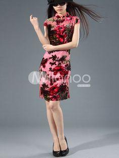 gamesinfomation.com Elegant Red 100% Silk Short Sleeve Cheongsam Costume For Women coupon| gamesinfomation.com
