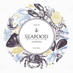 Decorative card or flyer design with sea food sketch. Vintage Food Posters, Vintage Menu, Retro Posters, Movie Posters, Food Menu Design, Flyer Design, Restaurant Poster, Food Sketch, Fish Logo