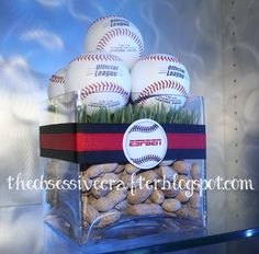 Baseball centerpieces on The Obsessive Crafter: Party Post: Sports themed Bar Mitzvah  #TheObsessiveCrafter #PartyPost #Centerpieces #SportsBarMitzvah