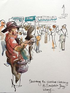 Sketching the sketchers sketching. Sausalito Ferry Landing., California