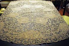 Antique Figural Nudes Italian Lace Ecru Tablecloth 66 Inches Round | eBay