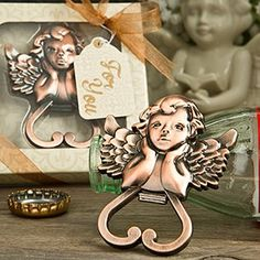 Heart Shaped Cherub Bottle Opener from Fashioncraft - These divine favors will add a touch of warmth and joy to your occasion and your guests will be delighted to take a little cherub home with them. These dreamy angels are perched on top of a heart shaped bottle opener. http://www.favorfavor.com/page/FF/PROD/4899