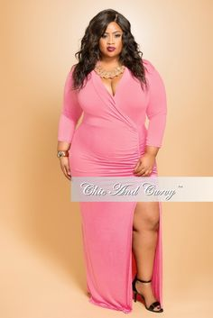 New Plus Size BodyCon Dress with Faux Wrap and Ruched Front in  Pink