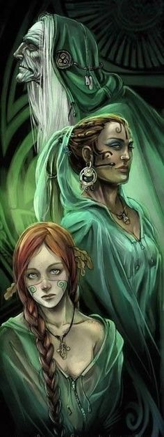"""THE NORNS - these are three goddesses of destiny or fate: SKULD """"being"""" the future, VERDANDI """"necessity"""" the present, and URD """"fate"""" the past. They spent most of their time spinning the threads of like, deciding the fate of every human and every god. Whenever a child was born, the NORNS spun the fate of the child in their threads."""