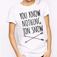 US $4.99 - 5.55 H211 New Coming Jon Snow Letters Printed Women Tees O Neck Cotton White Casual T Shirts aliexpress.com