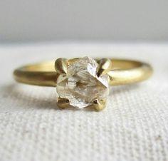 Rough Diamond Yellow Gold Engagement Ring...