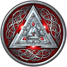 Norse Triskele Valknut Shield in Silver and Red