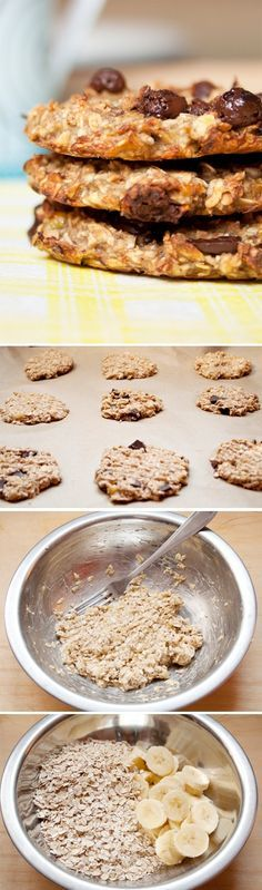 Jen banány a ovesné vločky :O :D plus třeba skořice nebo čokláda Dairy Free Recipes, Baking Recipes, Cookie Recipes, Dessert Recipes, Healthy Sweets, Healthy Baking, Healthy Snacks, Delicious Desserts, Yummy Food