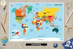 World Map  Educational Kids Placemats-Map of the by MokileArt