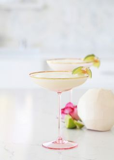 Ginger Coconut Lime Margaritas #drinks #cocktails #margarita