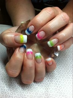 White Rainbow by from Nail Art Gallery Cute Gel Nails, Fancy Nails, Pretty Nails, Dope Nail Designs, Fall Nail Designs, Summer Acrylic Nails, Summer Nails, Rainbow Nail Art, Cute Spring Nails