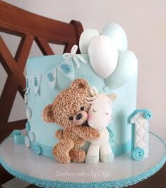 Baby Shower Cake Teddy bear by Couture cakes by Olga Baby Cakes, Baby Shower Cakes, Tortas Baby Shower Niña, Teddy Bear Baby Shower, Baby Boy Shower, Baby Boy Birthday Cake, Birthday Cake For Kids, Teddy Bear Birthday Cake, 17th Birthday