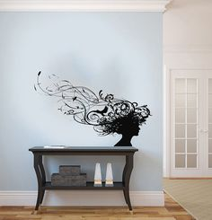 Girl Woman Silhouette Head Patterns Bird by SuperVinylDecal, $24.99...this is my beautiful but totally my nightmare...a bird in my hair!