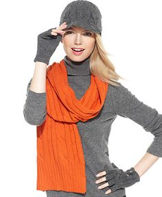 MICHAEL Michael Kors Scarf, Wool Cable Knit Scarf   Orange Spice