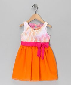 Take a look at this Pink & Orange Bow Dress - Toddler & Girls by Self Esteem on #zulily today!