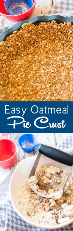 Easy Oatmeal Pie Crust -- Tired of graham cracker crusts? This 5 ingredient, brown sugar, easy oatmeal pie crust makes the most delicious and unique base to creamy, no-bake pies. Oatmeal Pie Crust Recipe, Pie Crust Recipes, Tart Recipes, Sweet Recipes, Baking Recipes, Pie Crusts, Recipe Of Oats, Pie Fillings, Gluten Free Pie Crust