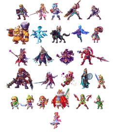 Been working on this for a while, sprites of all the playable characters of Hyrule Warriors. -Added the DLC Characters! -Added Medli, will be making the rest as they release -Added the bad guys, fi...