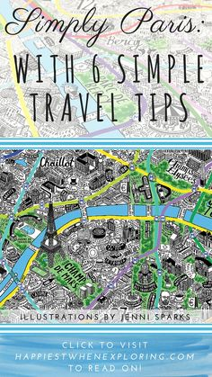 Simply Paris: With 6 Simple Travel Tips for visiting the Magical City! post by Celia Persechino on happiestwhenexploring . com // Illustration by Jenni Sparks at JenniSparks . Paris Travel Tips, Jenni, Exploring, City Photo, Travel Destinations, Traveling, Simple, Illustration, Happy