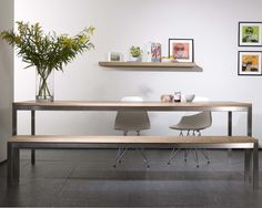 Basic Stainless Steel Dining Table in Oak