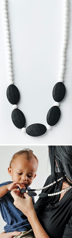 Silicone teething necklace // Design + function #jewelry_design #baby_shower_gift ~ brilliant!
