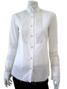 Norio Nakanishi Shirt with korean collar, elasticated, inlays in lace on the bib and armholes. Price: $175.00