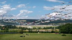 """Aircraft take flight from Zurich Airport, Switzerland, in one of Mike Kelley's """"Airportraits"""" images."""