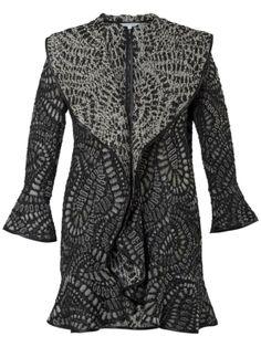 Grey/Black Spangle Paisley Jacquard Coat