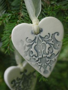 Set of 6  Smokey Blue, Embellished Ceramic Heart Ornaments. $15.00, via Etsy.