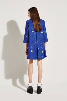 Pleat Shirt Dress Blue Rocket Print - THE WHITEPEPPER http://www.thewhitepepper.com/collections/winter-drop-1/products/pleat-shirt-dress-blue-rocket-print