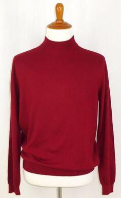Mens Silk Blend Sweater Mock Turtleneck Paul Fredrick Red L #PaulFredrick #Turtleneck