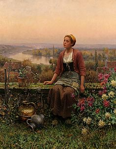 Maria on the Terrace by Daniel Ridgway Knight - 32 1/4 x 25 3/4 inches Signed and inscribed Paris paris salon french academic genre rolleboise women in gardens figures figurative flowers