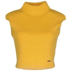 Dsquared2 Turtleneck ($250) ❤ liked on Polyvore featuring tops, sweaters, yellow, crop top, shirts, yellow shirt, turtleneck shirt, yellow sweater, sleeveless shirts and turtleneck sweater