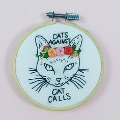 Feminist cat knows what's up. #fiberart #embroidery #cat @brinnanabreadcrafts