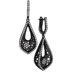 Diamond Blackened Gold Drop Earrings ($3,100) ❤ liked on Polyvore featuring jewelry, earrings, accessories, multiple, diamond earrings, 18k yellow gold earrings, drop earrings, 18 karat gold earrings and 14k earrings