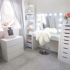 Sunday's. The perfect day for getting inspired and creating gorgeous beauty spaces. Loving this layout and use of IKEA furniture by . Use our VC Dividers – Medium size for both the – IKEA Alex 9 drawer divider per drawer) – Malm 3 d Sala Glam, Vanity Room, Ikea Vanity, Vanity Drawers, Dresser Desk, Vanity Set, Alex Drawer Vanity, Closet Dresser, Closet Mirror