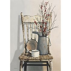 art de toile tendue encore la vie arrosoir sur une chaise par cecile Baird prêt à accrocher - EUR € 28.87