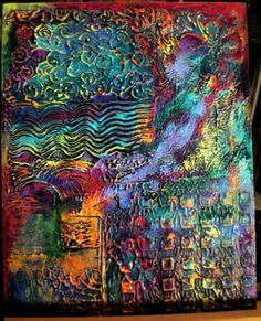 Mixed Media Folk Art: New Textured Abstract Paintings
