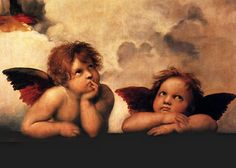 Raphael Sanzio - Angels (Detail)  Raffaello Sanzio da Urbino, better known simply as Raphael, was an Italian painter and architect of the High Renaissance, celebrated for the perfection and grace of his paintings and drawings. Together with Michelangelo and Leonardo da Vinci, he forms the traditional trinity of great masters of that period.