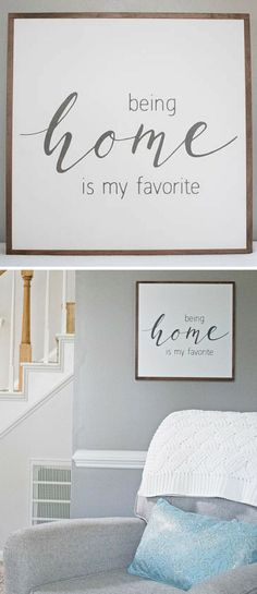 HOME SIGN | Being Home is my Favorite | Rustic Wood Sign | Farmhouse Style Sign | Painted Sign | Framed Wooden Sign, farmhouse decor, rustic decor, home decor, living room wall art, gallery wall decor, entryway decor #ad