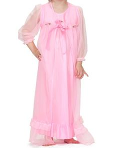 6baacc228d Laura Dare Little Girls Long Sleeve Peignoir Nightgown Robe Set w Scrunch