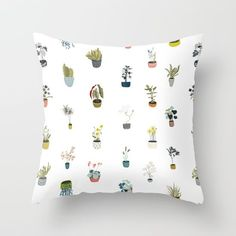 Illustrated plants in pots. Vector illustration by Emma Wilson. Throw Pillow made from 100% spun polyester poplin fabric, a stylish statement that will liven up any room. Individually cut and sewn by hand, each pillow features a double-sided print and is finished with a concealed zipper for ease of care.  Sold with or without faux down pillow insert.