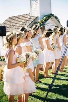 Bridesmaids wore floral dresses (same style, different fabrics) by the Lauren Graebner of EVA's by Reclamation and crowns & bouquets of baby's breath. Brides: Little People, Big World's Jeremy Roloff and Audrey Botti's Wedding Photos Revealed