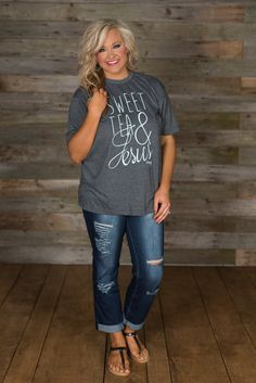Sweet Tea & Jesus Tee - two of our favorite things! Basic tee styling with a crew neckline and short sleeves. : Sweet Tea & Jesus Tee - two of our favorite things! Basic tee styling with a crew neckline and short sleeves. 60 Fashion, Fashion Over 40, Curvy Fashion, Autumn Fashion, Fashion Outfits, Womens Fashion, Mom Outfits, Spring Outfits, Casual Outfits