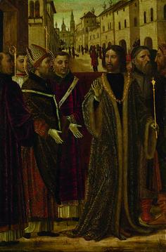 Bergognone (Ambrogio da Fossano detto) - Sant'Ambrogio e l'imperatore Teodosio - 1490-1499 -  Accademia Carrara di Bergamo Pinacoteca