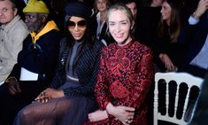 Naomi Campbell and Emily Blunt were seated next to each other as they watched the Christian Dior looks go by. The ladies were seen chatting and admiring the fashion.