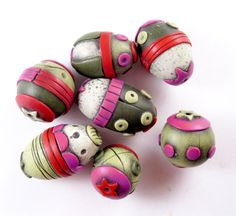 polymer clay beads | Raspberry Sage Circus Polymer Clay Beads by Artybecca on Etsy
