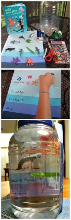 Ocean Habitat Project: Zones, Sea Animals & Deep Sea Creatures AMAZING STEM activity that teaches kids about ocean zones! Create your own ocean in a jar with this fun science craft for kids. Kid Science, Science Crafts For Kids, Science Fair Projects, Preschool Science, Science Experiments, Stem Science, Preschool Crafts, Ocean Projects, Craft Kids