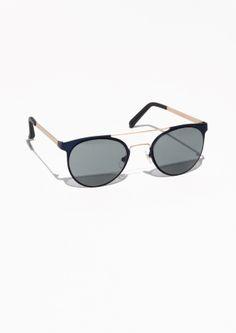 & Other Stories Metal Frame Aviator Sunglasses in Dark blue