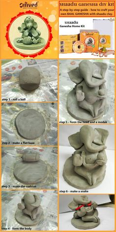 A step-by-step guide on making your own Baal Ganesha idol using shaadu clay from Omved Ganesha Home Kit. you can buy it here - omvedstore. Clay Ganesha, Ganesha Art, Ganesh Rangoli, Ganesh Idol, Lord Ganesha, Diy Clay, Clay Crafts, Hobbies And Crafts, Arts And Crafts